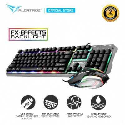 ALCATROZ X-CRAFT (XC3000) Black Multi-color LED Backlight Wired Keyboard + Mouse Desktop Combo