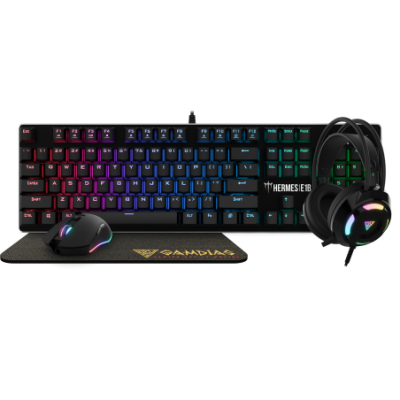 Gamdias (HERMES E1B) Gaming Combo 4-in-1 Mechanical Keyboard+Mouse+Mousemat+Headset