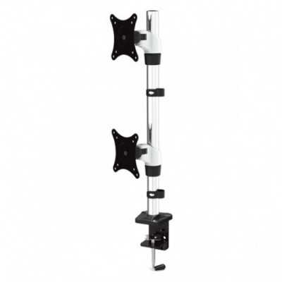 """Vision Mount VM-FE120D Desk Clamp Aluminium Dual Vertical LCD Monitor Arm support up to 27"""""""