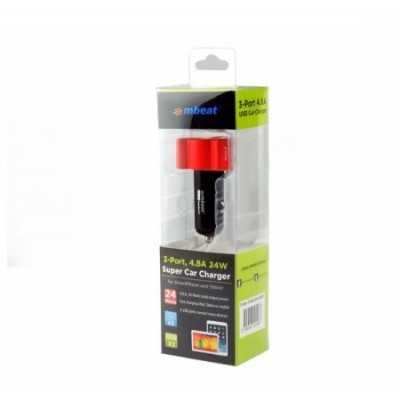 mbeat RED 4.8A/24W Triple ports Rapid Car Charger (CHGR-348-RED)
