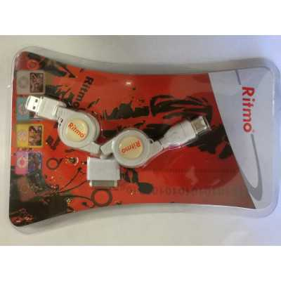 Ritmo (IP-006) Retractable (USB-A Male to 1394 Firewire Male) and iPod