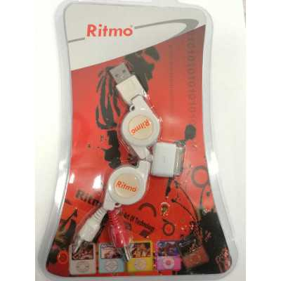 Ritmo (IP-015) Retractable USB-A Male to 2xRCA Audio Cable & Ipod