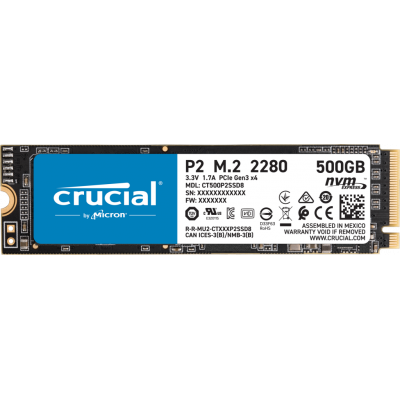 Crucial P2 500GB (CT500P2SSD8) M.2 (2280) NVMe PCIe QLC NAND SSD Solid State Drive