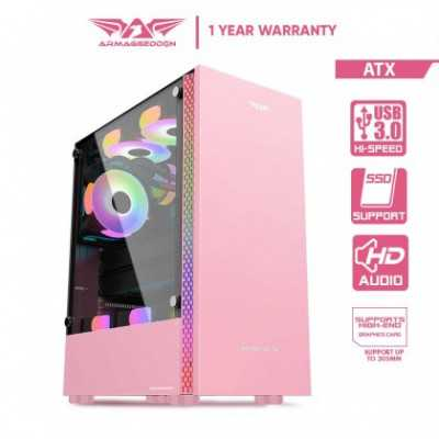 ARMAGGEDDON (RUBY B-V Pink Coated Gaming Case without PSU